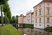Rheinsberg Castle moat with bridge to the castle entrance, Rheinsberg, Brandenburg, Germany