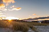 Sunset over the dunes, Heiligenhafen, Ostholstein, Schleswig-Holstein, Germany
