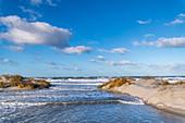 Sandy beach, Baltic Sea high water and dunes in Heiligenhafen, Ostholstein, Schleswig-Holstein, Germany