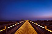 Heiligenhafen pier at blue hour, Baltic Sea, Ostholstein, Schleswig-Holstein, Germany