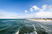 View of the wintry beach in Heiligenhafen, Baltic Sea, Ostholstein, Schleswig-Holstein, Germany