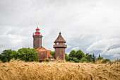 Dahmer lighthouse in front of a wheat field, Baltic Sea, Dahme, Schleswig-Holstein, Germany