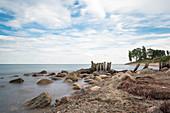 Buhnen in der Bucht Dahmeshöved, Dahme, Ostsee, Schleswig-Holstein, Deutschland