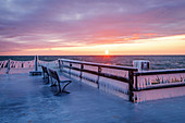 Dahme pier with icicles, sunrise, Baltic Sea, winter, Schleswig-Holstein, Germany