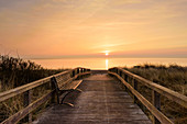 Bench at the beach crossing in Dahme, Baltic Sea, dunes, sunrise, Schleswig-Holstein