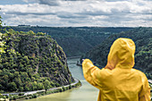 Loreley on the Rhine in Germany with pointing person