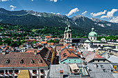 The view from the city tower of St. Jakob Cathedral and the Nordkette in Innsbruck, Tyrol, Austria