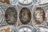 The painted ceiling inside the Cathedral of Sankt Jakob in Innsbruck, Tyrol, Austria