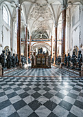Inside the Hofkirche with the 28 larger than life bronze statues in Innsbruck, Tyrol, Austria