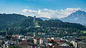 View from the city center to the Bergisel in Innsbruck, Tyrol, Austria