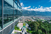 View from the diving platform on Bergisel over the city and the Nordkette in Innsbruck, Tyrol, Austria