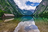View over the Obersee towards Koenigssee from the Fischunkelalm in the Berchtesgadener Land in Bavaria, Germany
