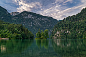 Early in the morning at sunrise at the Koenigssee in Berchtesgadener Land in Bavaria, Germany