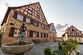 Brestlas fountain on the market square of Cadolzburg, Franconia, Bavaria, Germany
