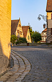View of market square in the evening light, Cadolzburg, Franconia, Bavaria, Germany