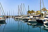 Boats in the harbor at Puerto de Mogan, southwest Gran Canaria, Spain
