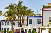 Restored colorful houses in popular port town of Puerto de Mogan, southwest Gran Canaria, Spain