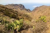 View over mountains and sea in Teno Mountains, Tenerife, Spain