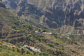 View over mountainous landscape with small villages in the Teno Mountains, Tenerife, Spain