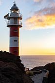 """Lighthouse at """"Punta del Teno"""" at sunset - westernmost point of Tenerife, Spain"""