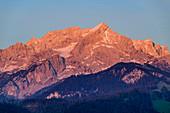Alpspitze im Morgenlicht, Werdenfelser Land, Werdenfels, Bayerische Alpen, Oberbayern, Bayern, Deutschland