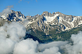 Wolkenstimmung an den Schafalpenköpfen, vom Himmelschrofen, Allgäuer Alpen, Allgäu, Schwaben, Bayern, Deutschland