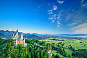 Neuschwanstein Castle at the blue hour, Tannheimer Berge in the background, Neuschwanstein, Upper Bavaria, Bavaria, Germany