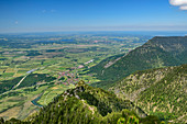 Tiefblick auf Eschenlohe, von Hohe Kisten, Estergebirge, Bayerische Alpen, Oberbayern, Bayern, Deutschland