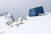 Modern mountain hut, Seethalerhütte, Dachstein, Upper Austria, Austria