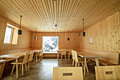 Dining room made entirely of solid wood, Seethalerhütte, Dachstein, Upper Austria, Austria