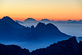 Graduated silhouettes of the Belluno Dolomites at dawn, Vette Grandi, Belluno Dolomites, Belluno Dolomites National Park, UNESCO World Heritage Dolomites, Veneto, Veneto, Italy
