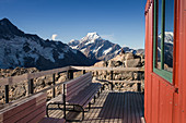 View of Mount Cook from the Mueller Hut in Aoraki Mount Cook National Park in Canterbury, New Zealand.