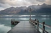 Jetty at Glenorchy on Lake Wakatipu in Otago, New Zealand.