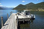 Boat on Lake Rotorua in Nelson Lakes National Park.