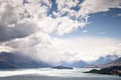 View of Lake Wakatipu in Queenstown, Otago New Zealand.
