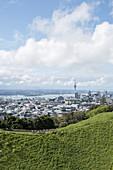 Auckland skyline seen from Mount Eden in New Zealand.