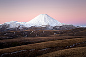 Sunset at Mount Ngauruhoe in the Taupo District, Tongariro National Park in New Zealand.