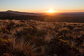 Sunset over Tongariro National Park in Waikato, New Zealand.