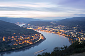 Blue hour at Gedeonseck in Boppard, Rhineland Palatinate, Germany.