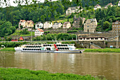 Koenigstein on the Elbe in Saxon Switzerland, Countess Cosel, steamship