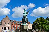 The Asmussen-Woldsen monument on the market square in Husum, Schleswig-Holstein