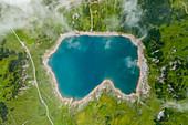 Aerial shot of lake Formarinsee, Vorarlberg region, Austria