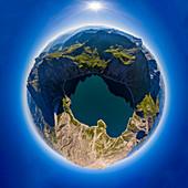 Little Planet postproduction of lake Lünersee, Brandnertal, Vorarlberg, Austria