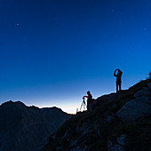 Night photography above lake Lünersee, Brandnertal, Vorarlberg, Austria