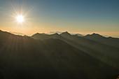 Sunset over the mountains in Vorarlberg, Austria