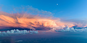 Aerial shot of a thunderstorm cloud at sunset, Bavaria, Germany