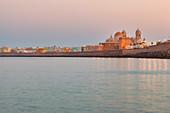Cadìz Cathedral at dawn, Cádiz, province of Cádiz, Andalusia, Spain