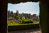 The Alhambra complex from the gardens of Generalife, Granada, province of Granada, Andalusia, Spain
