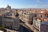 Overview of Metropolis Palace and historic center of Madrid from the terrace of Fine Arts Circle (Circulo de Bellas Artes), Madrid, Spain