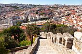 Overview of the historical centre of Lisbon from Torre de São Lourenço (St Laurence's Tower) of Castelo de São Jorge (St George's Castle),  Alfama Neighborhood, Lisbon, Lisbon Metropolitan Area, Portugal